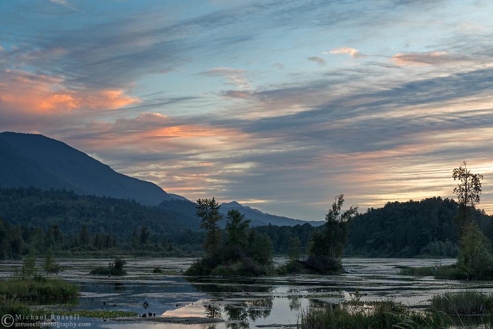Sunset over Cheam Lake Wetlands in Chilliwack (Popkum), British Columbia, Canada