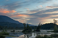 Sunset over Cheam Lake Wetlands in Chilliwack (Popkum), British Columbia, Canada