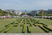 The gardens of Eduardo VII park during the Lisbon Book Fair on 27th May 2018 in Lisbon, Portugal. The Lisbon Book Fair is one of the oldest cultural festivals held in the capital of Portugal. It was inaugurated in the 1930s, and its traditional location is the Eduardo VII Park, the largest park of Lisbon, located in the vicinity of the monumental Praça Marques de Pombal