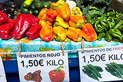 Pimentos - Pimientos Rojo, red and green of Cantabria on sale in food market in Santander, Northern Spain
