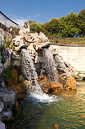 The Fountain of the Dolphins (1773-80).  The Kings of Naples Royal Palace of Caserta, Italy. A UNESCO World Heritage Site