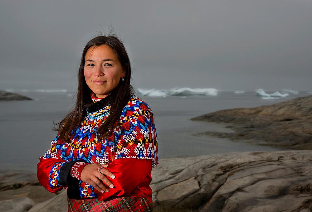 Josepha Thomsen, a resident of Illulissat, Greenland wearing traditonal Inuit Clothing.