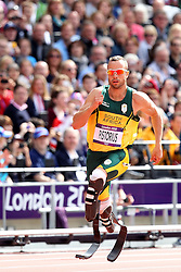 Oscar Pistorius of South Africa competes with able bodied athletes in the Men's 400m heats during day 2 of athletics held at the Olympic Stadium in Olympic Park in London as part of the London 2012 Olympics on the 3rd August 2012..Photo by Ron Gaunt/SPORTZPICS