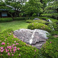 Shofuen is both a tea ceremony garden with a small strolling garden. The grounds are made up of carefully sculpted bushes that encircle large stones, that give it modern look.  Its teahouses were built on the site of Shofuso, the domain of Zenpachi Tanakamaru, a the aficionado and Kyushu pottery collector. The garden incorporates two small teahouses: Shofuan and Azumaya that Tanakamaru had built by the famous tea hut artisan, Kaichiro Usui.  Shofuan.  Shofuan has the same layout as the that of the great tea master Sen-no-Rikyu located in the Jukoin Temple at Daitokuji  in Kyoto.