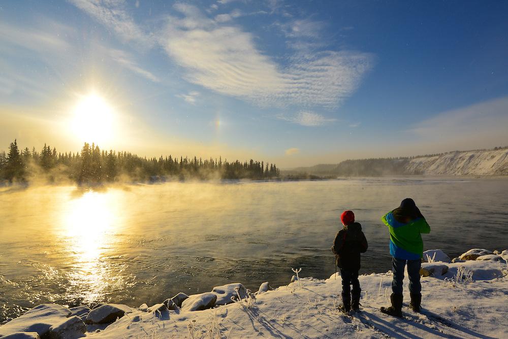 Yukon River sunrise with hoar frost