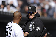 CHICAGO - MAY 09:  Manager Ozzie Guillen #13 talks to Andruw Jones #25 of the Chicago White Sox looks on during the game against the Toronto Blue Jays on May 9, 2010 at U.S. Cellular Field in Chicago, Illinois.  The Blue Jays defeated the White Sox 9-7.  (Photo by Ron Vesely)