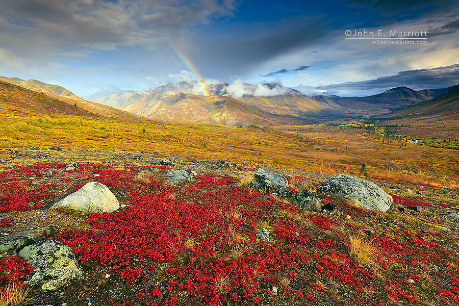 Rainbow over the North Fork Klondike River Valley in Tombstone Territorial Park, Yukon, Canada (off the Dempster Highway)
