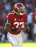 TUSCALOOSA, AL - NOVEMBER 10:  Defensive back Robert Lester #37 of the Alabama Crimson Tide warms up before the game against the Texas A&M Aggies at Bryant-Denny Stadium on November 10, 2012 in Tuscaloosa, Alabama.  (Photo by Mike Zarrilli/Getty Images)