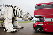 A first glimpse of Aurora, the double-decker-bus-size polar bear puppet specially commissioned by Greenpeace to lead an Arctic-inspired street parade to the London HQ of oil giant Shell on 15 September. The giant bear, which is made of replica and reclaimed ship parts as well as recycled materials, will be carrying in her fur the names of over 3 and half million people who have joined the global movement to protect the Arctic from industrial exploitation. The names will be delivered to Shell's HQ in London on 15 September as part of a global day of action to protect the Arctic.