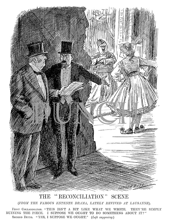 """The """"Reconciliation"""" Scene. (from the famous Entente drama, lately revived at Lausanne). First Collaborator. """"This isn't a bit like what we wrote. They're simply ruining the piece. I suppose we ought to do something about it?"""" Second Ditto. """"Yes, I suppose we ought."""" (Left supposing.) (cartoon showing Britain and France angry that Turkey and Greece are not playing to the script for peace during the InterWar era)"""