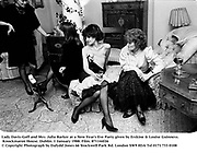 Lady Davis-Goff and Mrs. Julia Barker at a New Year's Eve Party given by Erskine & Louise Guinness. Knockmaron House. Dublin. 1 January 1988. Film. 871144f26<br />
