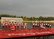 Shunyi, CHINA. GBR M8+,  Men's eights final, Gold medalist CAN M8+(b), LIGHT Kevin, RUTLEDGE Ben, BYRNES Andrew, WETZEL Jake<br /> HOWARD Malcolm, SEITERLE Dominic, KREEK Adam, HAMILTON Kyle and cox, PRICE Brian<br /> medalist USA M8+, Bow, HOOPMAN Beau, SCHNOBRICH Matt, BOYD Micah, ALLEN Wyatt, WALSH Daniel, COPPOLA Steven<br /> INMAN Josh, VOLPENHEIN Bryan and cox Mc ELHENNEY Marcus. <br />  at the 2008 Olympic Regatta, Shunyi Rowing Course.  17/08/2008 [Mandatory Credit: Peter SPURRIER, Intersport Images