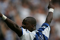 Photo: Lee Earle.<br /> Reading v Middlesbrough. The Barclays Premiership. 19/08/2006. Reading's Leroy Lita celebrates scoring their third.