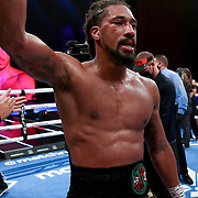 HOLLYWOOD, FL - APRIL 17:  Demetrius Andrade celebrates his victory over Liam Williams during the WBO Middleweight Championship fight at Seminole Hard Rock Hotel & Casino on April 17, 2021 in Hollywood, Florida. (Photo by Alex Menendez/Getty Images) *** Local Caption *** Demetrius Andrade; Liam Williams