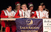 """Debbra Parent, Adam Cook and Stacia Michalewicz of the LHS """"B is for Band"""" team sponsored by Laconia Savings Bank await the judges decision during round two of the Lakes Region Scholarship Foundation's 11th annual spelling bee at Laconia High School.   (Karen Bobotas/for the Laconia Daily Sun)"""