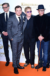 Colin Firth, Taron Egerton, Elton John, Matthew Vaughan and Jeff Bridges attending the World Premiere of Kingsman: The Golden Circle, at Cineworld in Leicester Square, London. Picture Date: Monday 18 September. Photo credit should read: Ian West/PA Wire