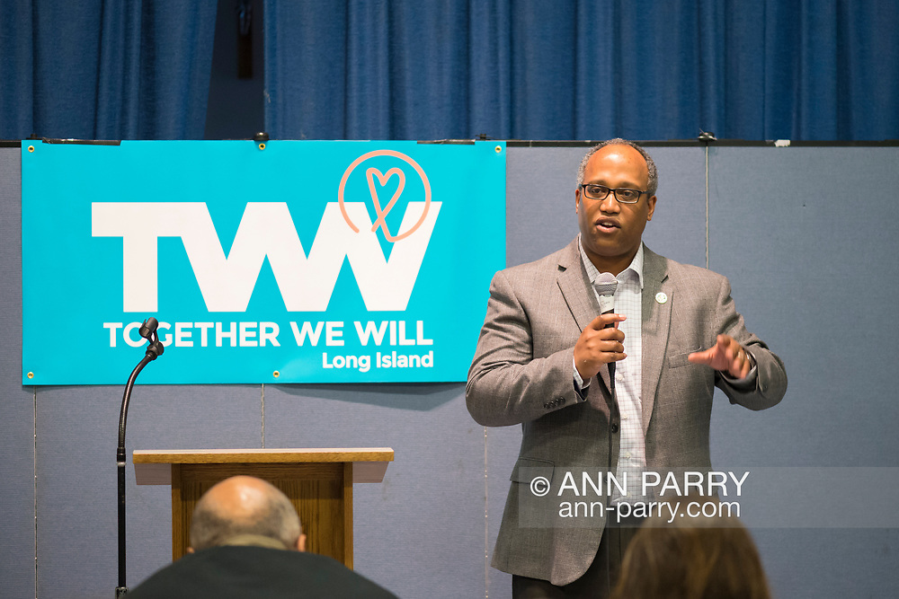 Wyandanch, New York, USA. March 26, 2017. DuWAYNE GREGORY, Presiding Officer and Suffolk County Legislator (Democrat - District 15), is speaking at Politics 101 event, the first of series of activist training workshops for members of TWW LI, the Long Island affiliate of national Together We Will. One of the 5 speakers referred to groups such as TWWLI as activist pop-up groups.