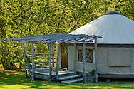 Luxury Yurt tent cabin at El Capitan Canyon Resort, near Santa Barbara, California