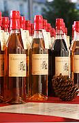 Different kinds of liqueurs: peach, blackberry. Bordeaux city, Aquitaine, Gironde, France