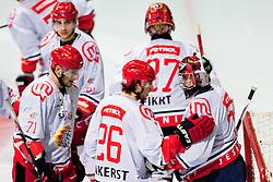 Gasper Kroselj and Jaka Ankerst of HK Acroni Jesenice during ice-hockey match between KHL Medvescak Zagreb and HK Acroni Jesenice in 39th Round of EBEL league, on Januar 8, 2012 at Arena Zagreb, Zagreb, Croatia. (Photo By Matic Klansek Velej / Sportida)