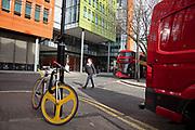 Multicoloured street scene near to the Google offices in London, United Kingdom.