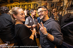Austrian custom painter Marcus Pfeil at the Friday night Rokker Apparel party during the Swiss-Moto Customizing and Tuning Show. Zurich, Switzerland. Friday, February 22, 2019. Photography ©2019 Michael Lichter.