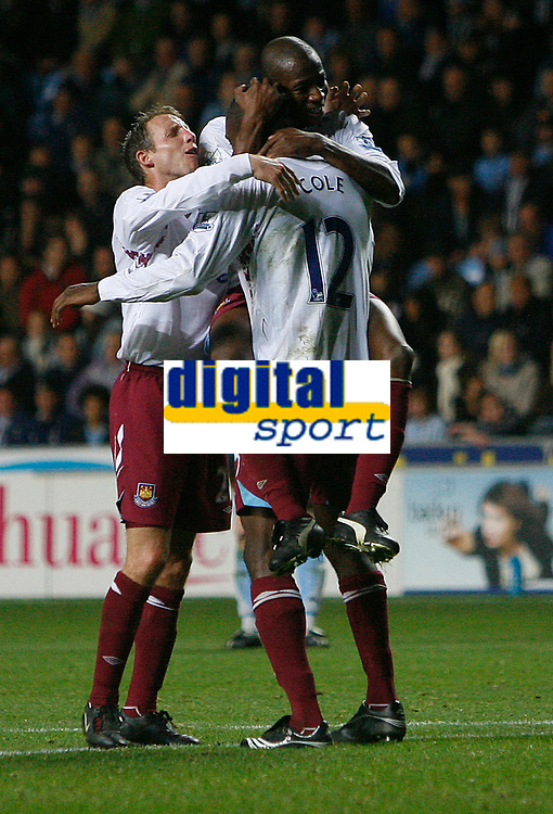 Photo: Steve Bond.<br /> Coventry City v West Ham United. Carling Cup. 30/10/2007. Carlton Cole (12) celebrates his late winner