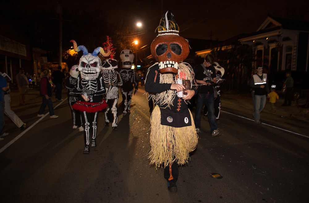 New Orleans, Louisiana, February 8, 2013, The Skeleton Krewe with costumes by artist Christopher Kirsch, leads the Krewe d'Etat Mardi Gras parade.
