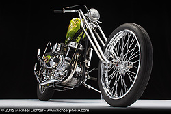 Gregg Underwood's 1949 green and gold leaf Harley panhead. Photographed by Michael Lichter at the Sacramento Easyriders Show on January 15, 2015. ©2015 Michael Lichter