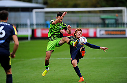 Aaron Collins of Forest Green Rovers competes with Arthur Read of Stevenage- Mandatory by-line: Nizaam Jones/JMP - 17/10/2020 - FOOTBALL - innocent New Lawn Stadium - Nailsworth, England - Forest Green Rovers v Stevenage - Sky Bet League Two