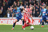 Wycombe Wanderers Matthew Bloomfield (10) and Sunderland's Grant Leadbitter (23) *** during the EFL Sky Bet League 1 match between Wycombe Wanderers and Sunderland at Adams Park, High Wycombe, England on 9 March 2019.