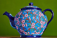 France, Meurthe et Moselle (54), Longwy, theiere en émaux de Longwy // France, Meurthe et Moselle department, teapot enamels from Longwy