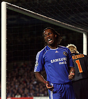 Photo: Paul Thomas.<br /> Chelsea v Valencia. UEFA Champions League. Quarter Final, 1st Leg. 04/04/2007.<br /> <br /> Didier Drogba (Blue) of Chelsea can't believe he don't score a second goal.