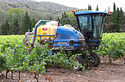 Spraying with a tractor in the vineyard. Chateau de Jau, Cases de Pene, Roussillon, France