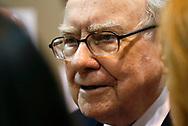 Berkshire Hathaway CEO Warren Buffett talks with a reporter before the Berkshire Hathaway annual meeting in Omaha, Nebraska, U.S. May 6, 2017. REUTERS/Rick Wilking