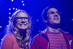 © Licensed to London News Pictures. 11/10/2012. London, England. Pictured: Eliza Hope Bennett as Holly and Aaron Sidwell as Michael. LOSERVILLE, a new original British musical created by Elliot Davis and James Bourne, is set in 1971 in an American High School and features Aaron Sidwell (EastEnders), Eliza Hope Bennett (Nanny McPhee), Stewart Clarke, Charlotte Harwood (Hollyoaks), Richard Lowe, Lil' Chris (Rock School) and Daniel Buckley. Photo credit: Bettina Strenske/LNP