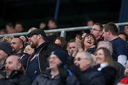 Main stand after Alston's winning goal.<br /> Falkirk 3 v 2 St Mirren, Scottish Championship game played 9/4/2016 today at The Falkirk Stadium.