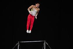 MELBOURNE, Feb. 24, 2019  Japan's Hidetaka Miyachi competes during men's high bar final at World Cup Gymnastics in Melbourne, Australia, on Feb. 24, 2019. Hidetaka Miyachi won the gold medal with a score of 14.733. Zhang Chenglong won the bronze medal with a score of 14.333. (Credit Image: © Eilzabeth Xue Bai/Xinhua via ZUMA Wire)
