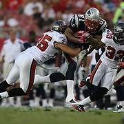 New England wide receiver Aaron Hernandez (81) runs with the football during an NFL football game between the New England Patriots and the Tampa Bay Buccaneers at Raymond James Stadium on Thursday, August 18, 2011 in Tampa, Florida.   (Photo/Alex Menendez)