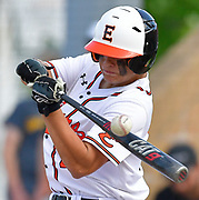 Edwardsville batter Caeleb Copeland tips the ball foul. OFallon defeated Edwardsville in a baseball sectional playoff game at Edwardsville High School in Edwardsville, IL on Wednesday June 9, 2021. <br /> Tim Vizer/Special to STLhighschoolsports.com.