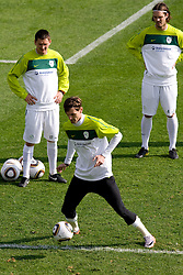 From L: Andraz Kirm, Milivoje Novakovic  and Marko Suler of Slovenia during a training session at  Hyde Park High School Stadium on June 10, 2010 in Johannesburg, South Africa.  (Photo by Vid Ponikvar / Sportida)