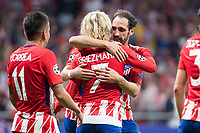 Atletico de Madrid's Angel Martin Correa, Antoine Griezmann and Juanfran Torres celebrating a goal during UEFA Champions League match between Atletico de Madrid and Chelsea at Wanda Metropolitano in Madrid, Spain September 27, 2017. (ALTERPHOTOS/Borja B.Hojas)