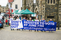 Pictured: Volunteers were out in Peebles today to remind everybody to register to make their voice heard in the up coming EU referendum<br /> <br /> <br /> <br /> Ger Harley | EEm 4 June 2016