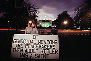 Washington, DC: 4-year, 24-hour nuclear weapons vigil-protest in front of white house. (1984)