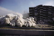 Controlled Demolition, Inc, used explosives to demolish an aging housing project near Paris. The Loizeaux brothers run the world's most famous demolition company founded by their father. La Courneuve, France.