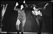FRENCH AND SAUNDER;: DAWN FRENCH;  JENNIFER SAUNDERS DAWN FRENCH,  Performance of The Comic Strip,  Boulevard Theatre, next to the Raymond Revue, Walkers court , Soho. London. 1981