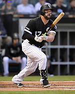 CHICAGO - MAY 30:  Yonder Alonso #17 of the Chicago White Sox hits a double against the Cleveland Indians on May 30, 2019 at Guaranteed Rate Field in Chicago, Illinois.  (Photo by Ron Vesely)  Subject:  Yonder Alonso