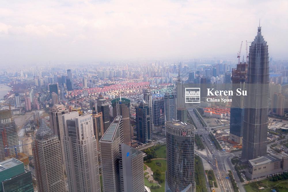 Aerial view of Shanghai skyline, Shanghai, China