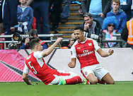 Arsenal's Alexis Sanchez celebrates scoring his sides second goal during the FA Cup Semi Final match at Wembley Stadium, London. Picture date: April 23rd, 2017. Pic credit should read: David Klein/Sportimage