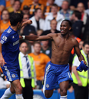 Chelsea's Didier Drogba celebrates his second with michael ballack<br /> F.A. Barclaycard Premiership. Chelsea v Hull. 15.08.09<br /> Pic By Karl Winter Fotosports International